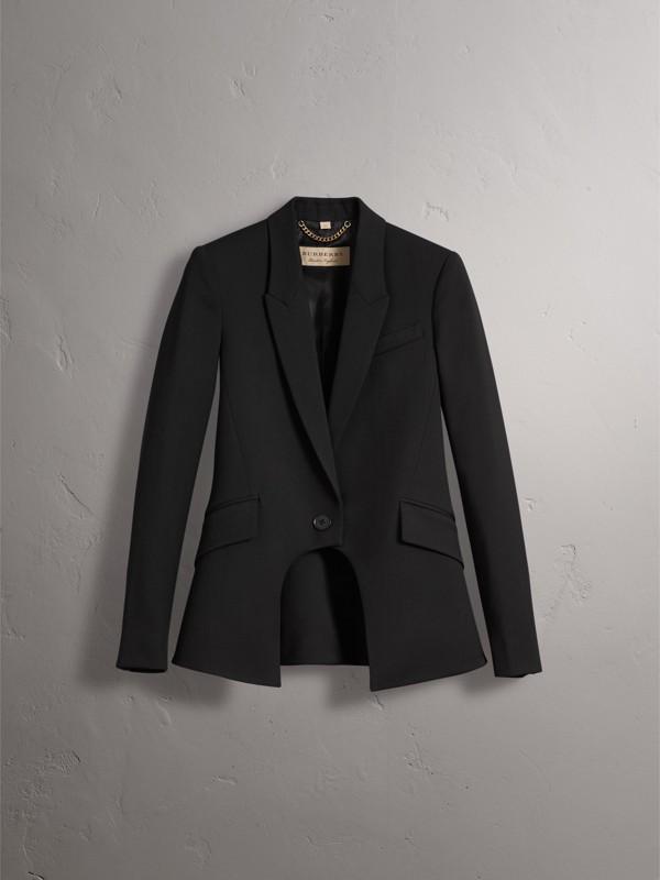 Jaqueta de montaria de lã com recorte frontal (Preto) - Mulheres | Burberry - cell image 3