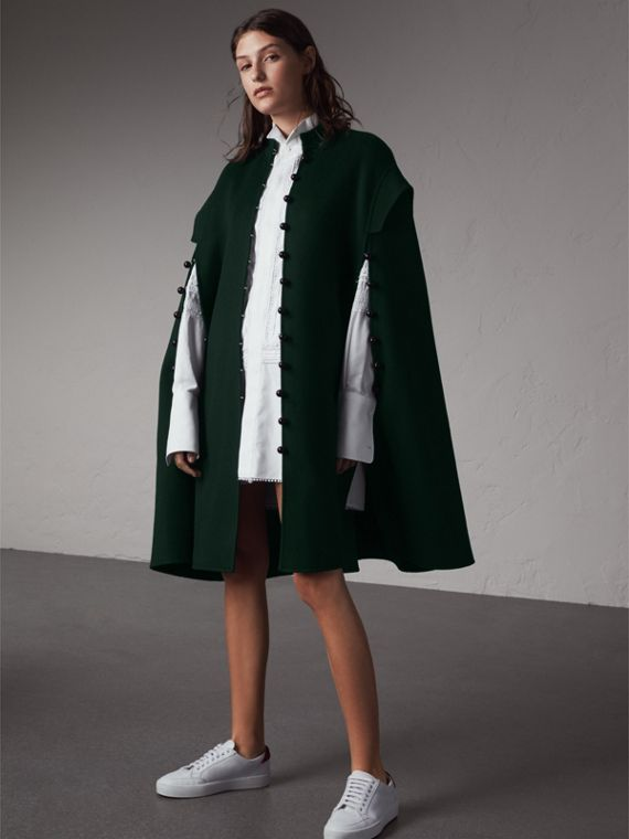 Domed Button Camel Hair Wool Cape - Women | Burberry Singapore