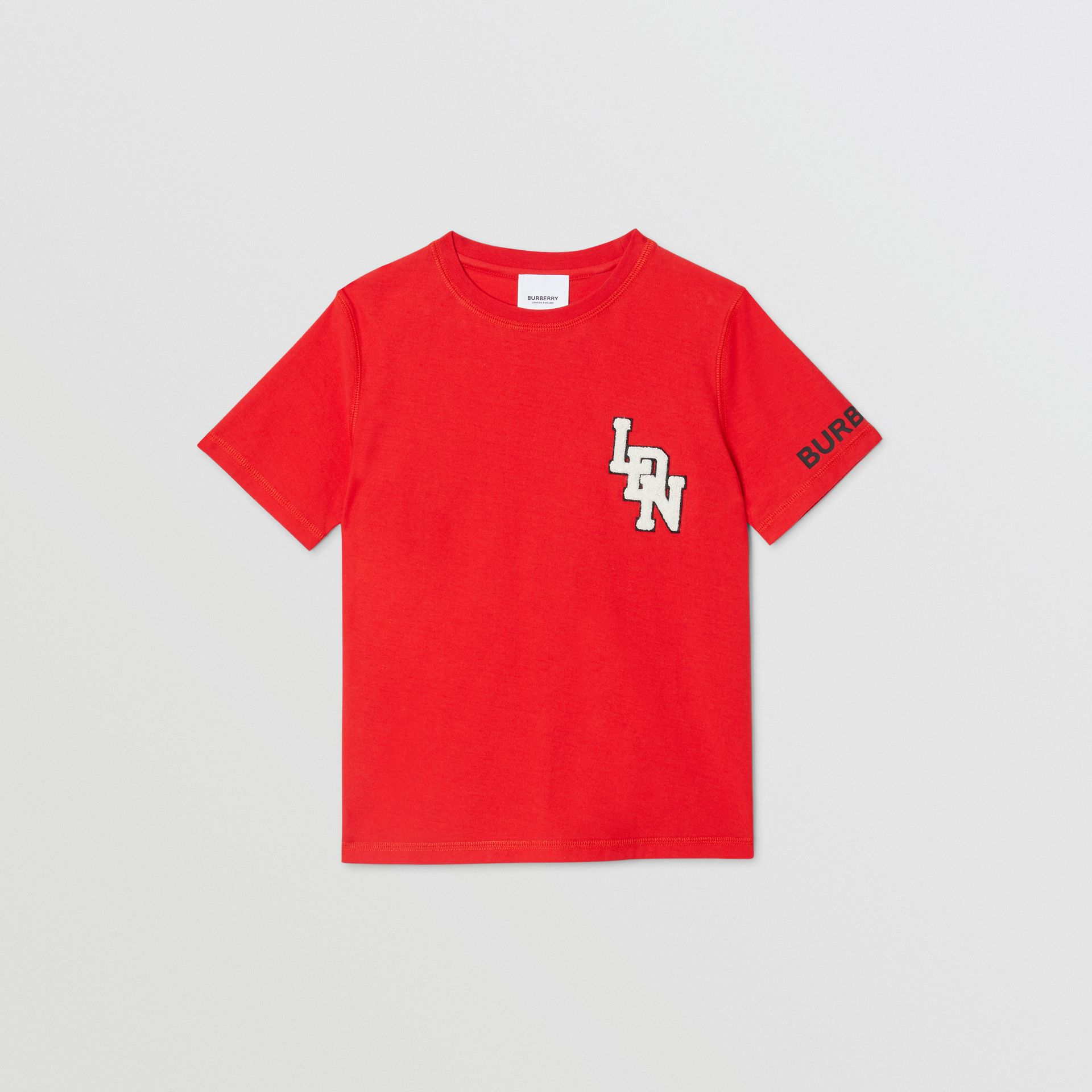 Logo Graphic Cotton T-shirt in Bright Red | Burberry - gallery image 0