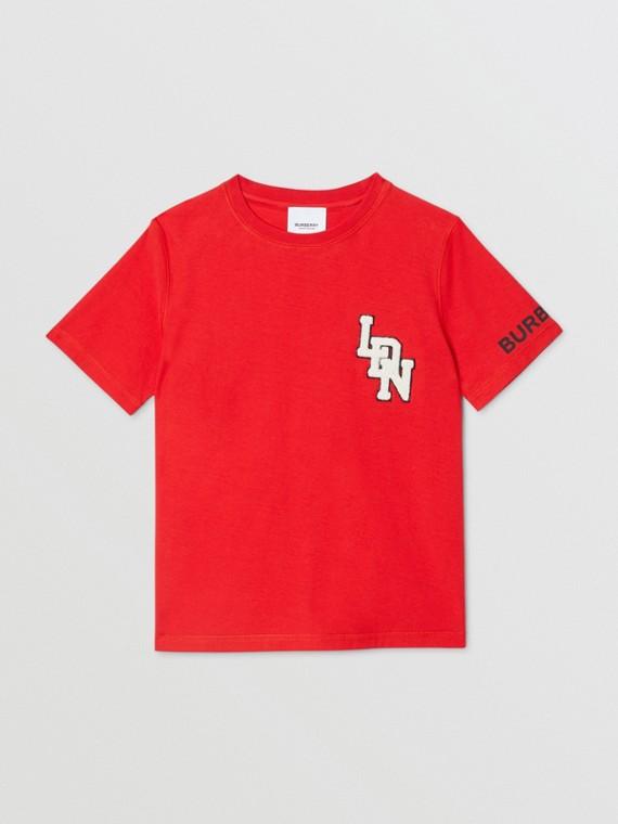 T-shirt en coton à logo (Rouge Vif)