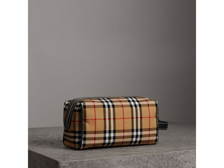 Vintage Check and Leather Pouch in Dark Cyan | Burberry - cell image 4