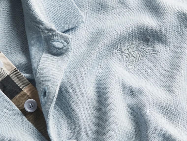 Bleu ciel pâle Polo en laine et soie mélangées avec patte à motif check Bleu Ciel Pâle - cell image 1