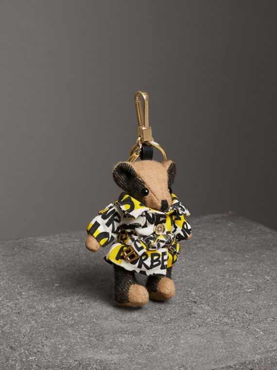 Thomas Bear Charm in Graffiti Print Trench Coat in Camel