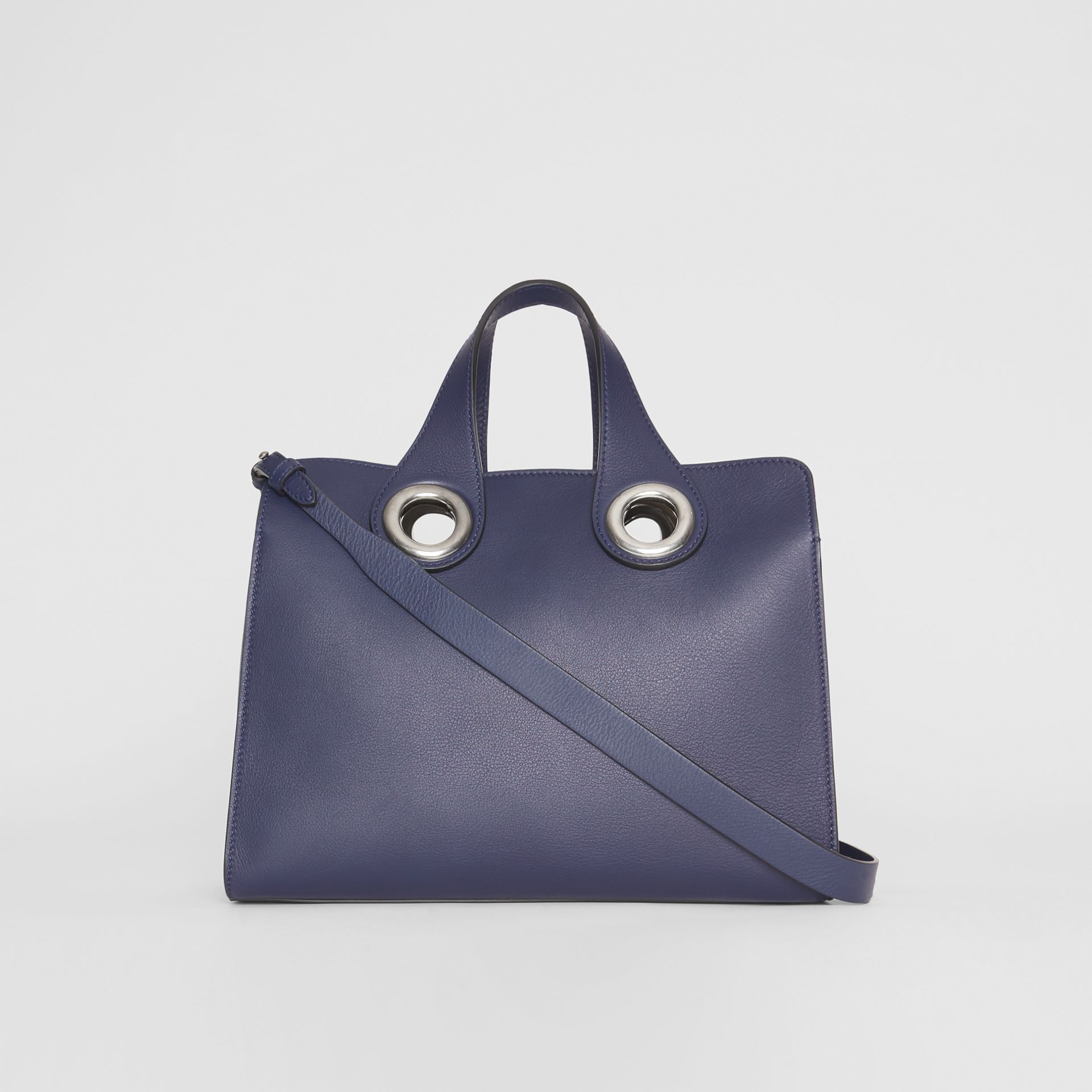 The Leather Crest Grommet Detail Tote in Regency Blue - Women | Burberry - gallery image 5