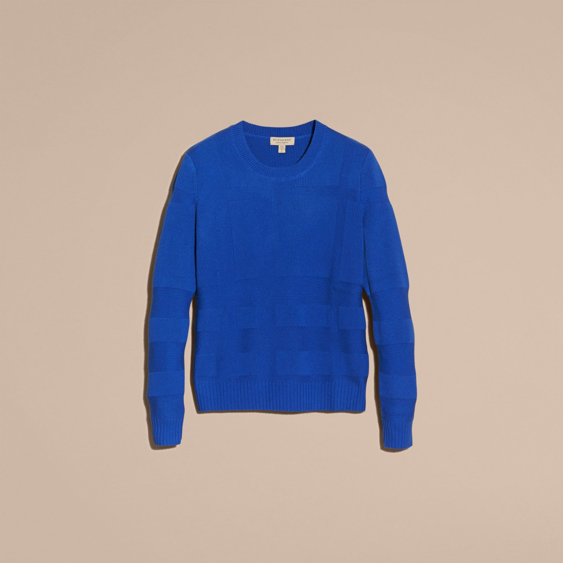 Check-knit Wool Cashmere Sweater in Sapphire Blue - gallery image 4