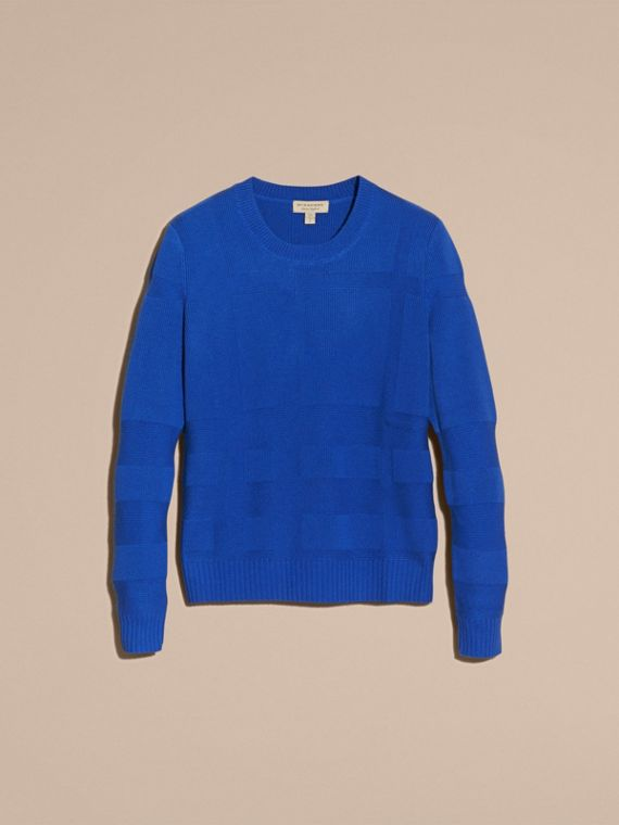 Check-knit Wool Cashmere Sweater in Sapphire Blue - cell image 3