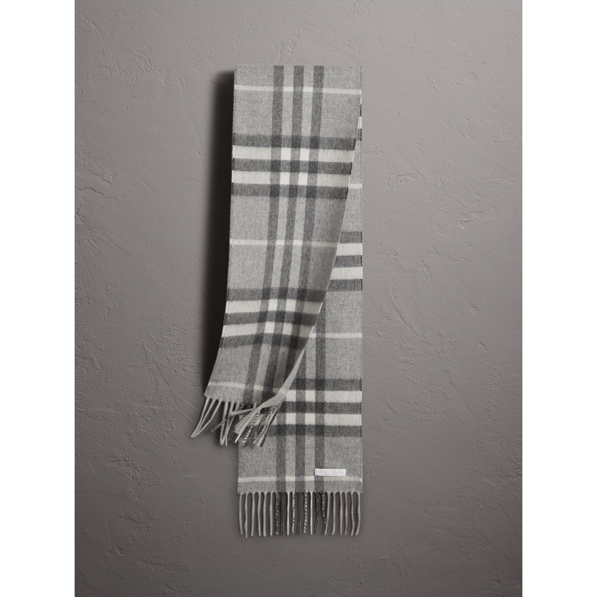 The Mini Classic Check Cashmere Scarf in Pale Grey | Burberry Hong Kong - gallery image 1