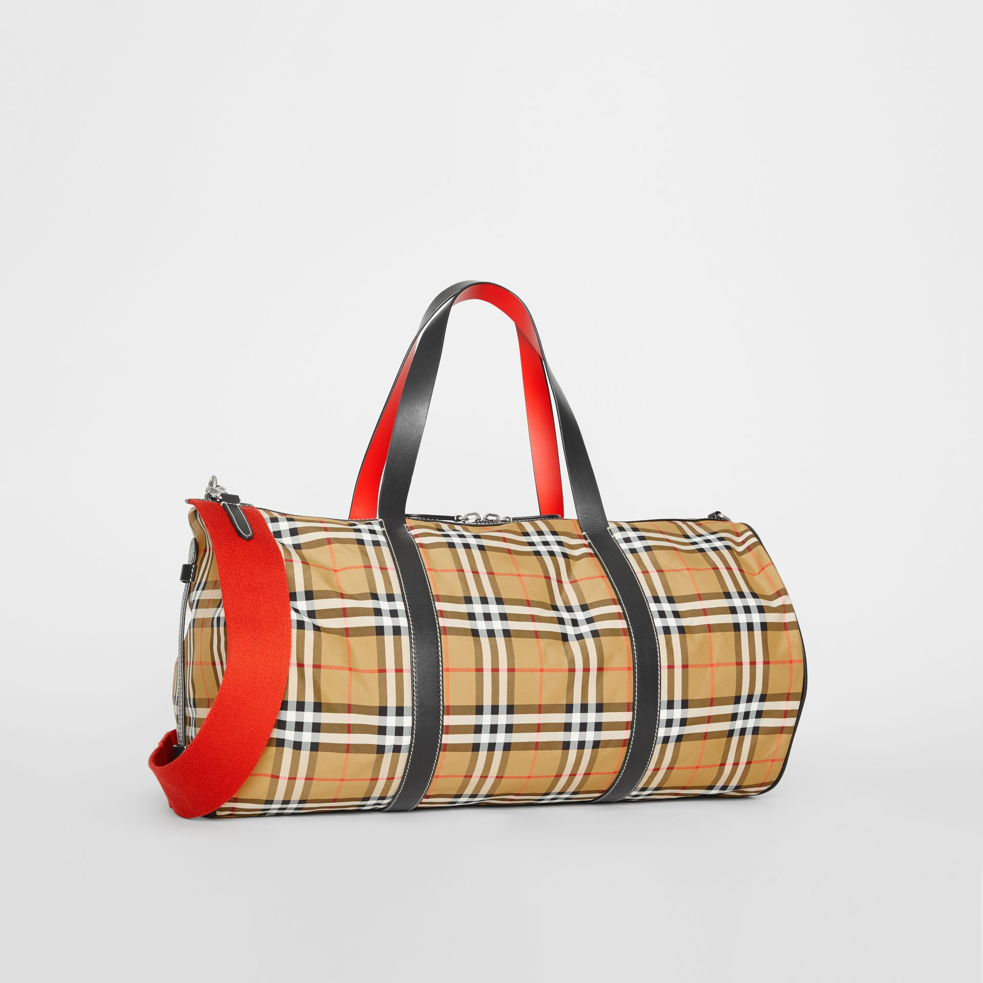 Large Vintage Check and Leather Barrel Bag in Antique Yellow - Men | Burberry Australia - gallery image 6