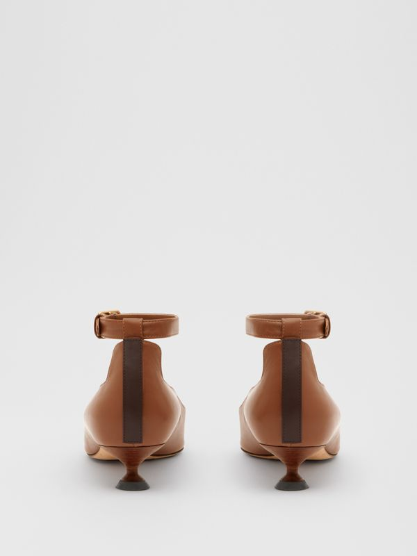 Leather Point-toe Kitten-heel Pumps in Soft Camel - Women | Burberry - cell image 3