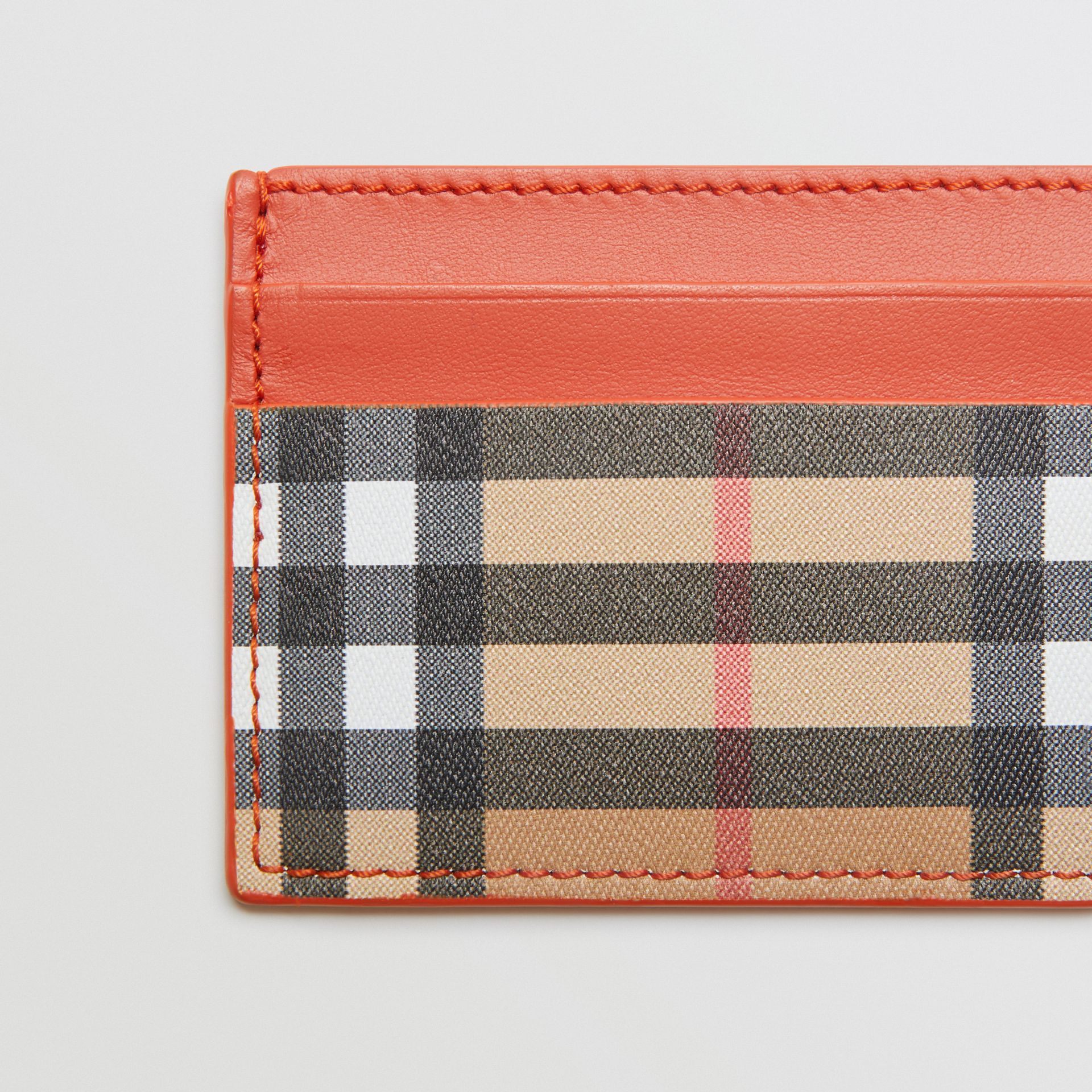 Vintage Check and Leather Card Case in Clementine - Women | Burberry - gallery image 1