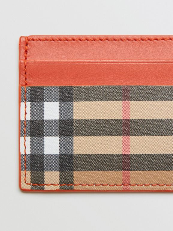 Vintage Check and Leather Card Case in Clementine - Women | Burberry Canada - cell image 1