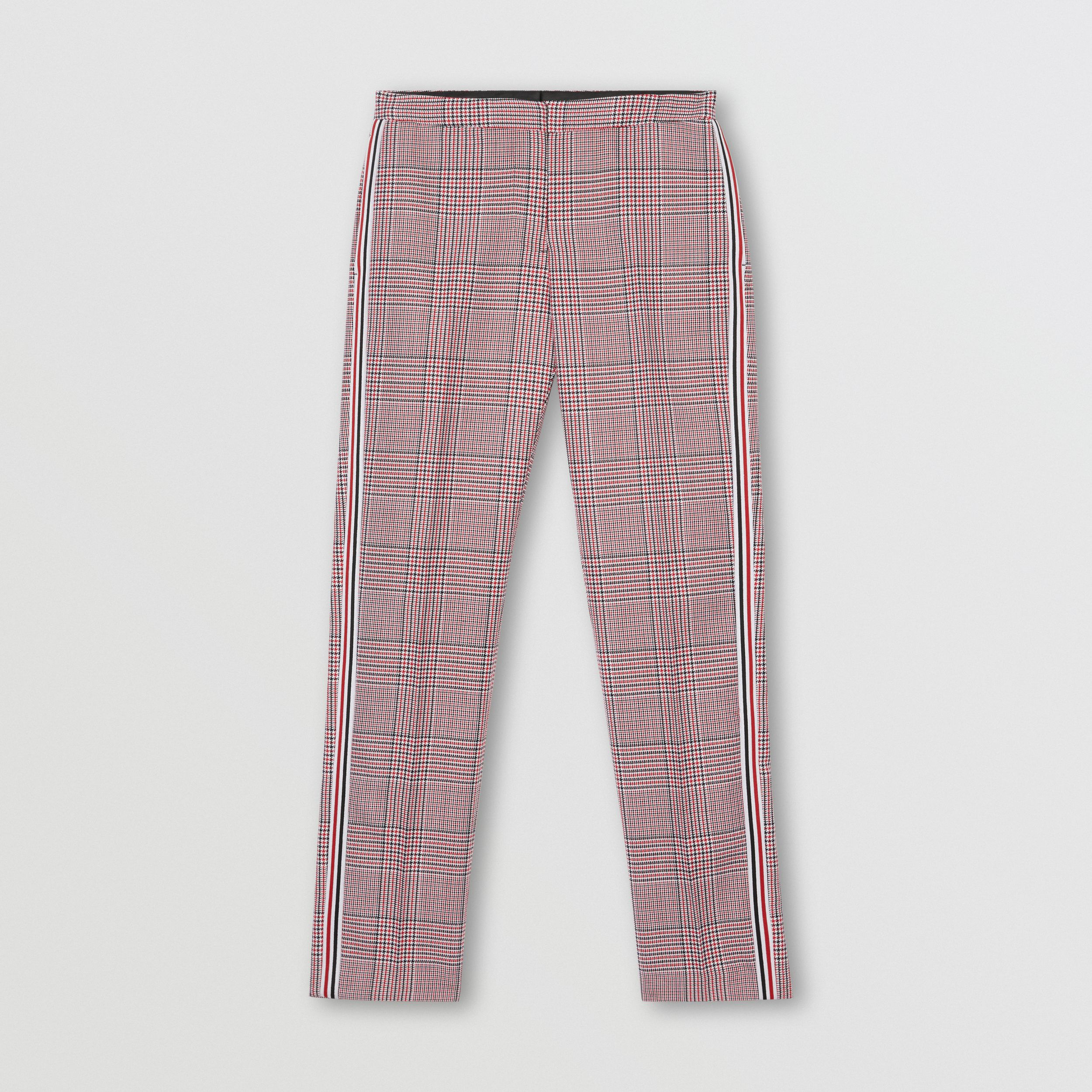 Side Stripe Houndstooth Check Wool Tailored Trousers in Bright Red - Women | Burberry - 4