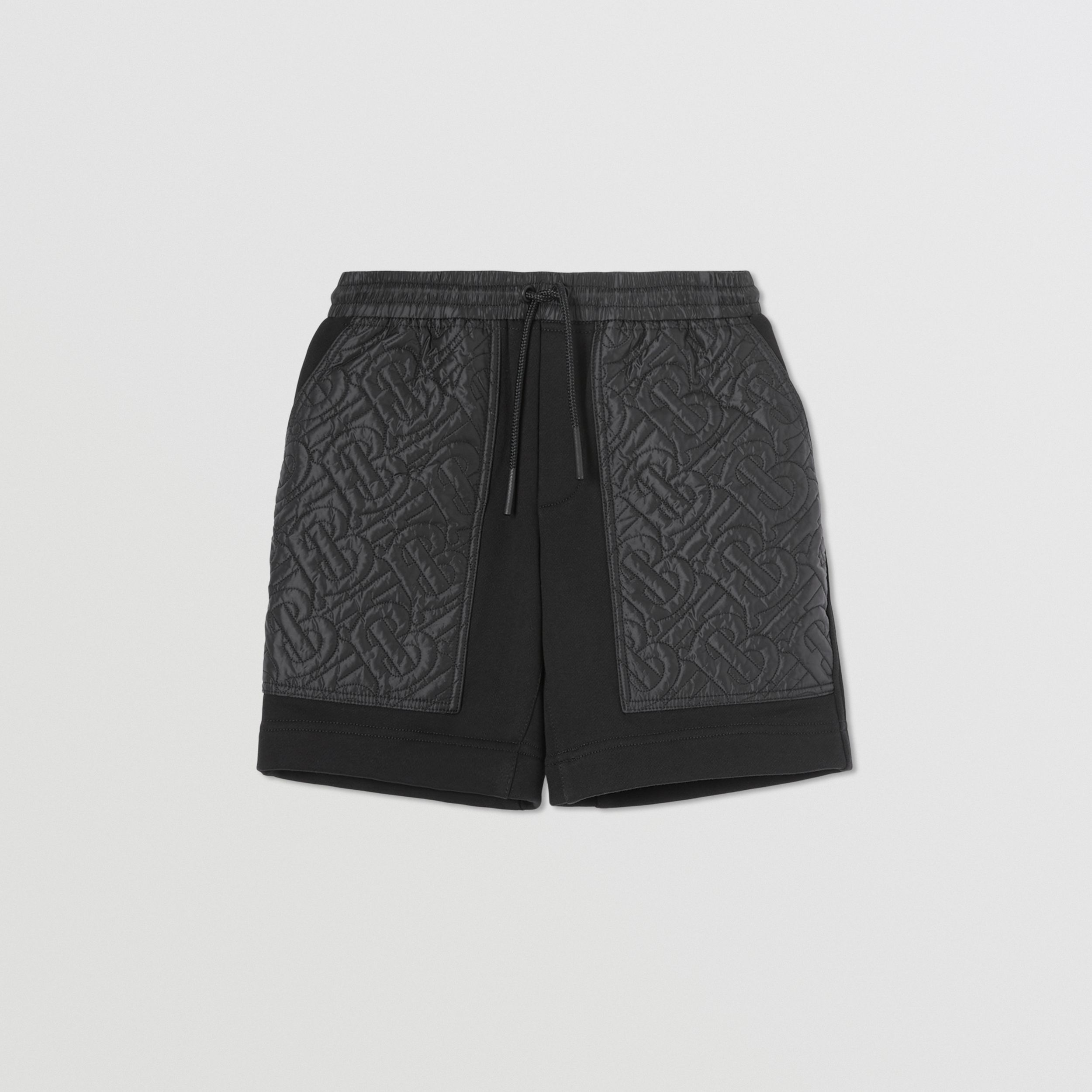 Monogram Quilted Panel Cotton Shorts in Black | Burberry - 1