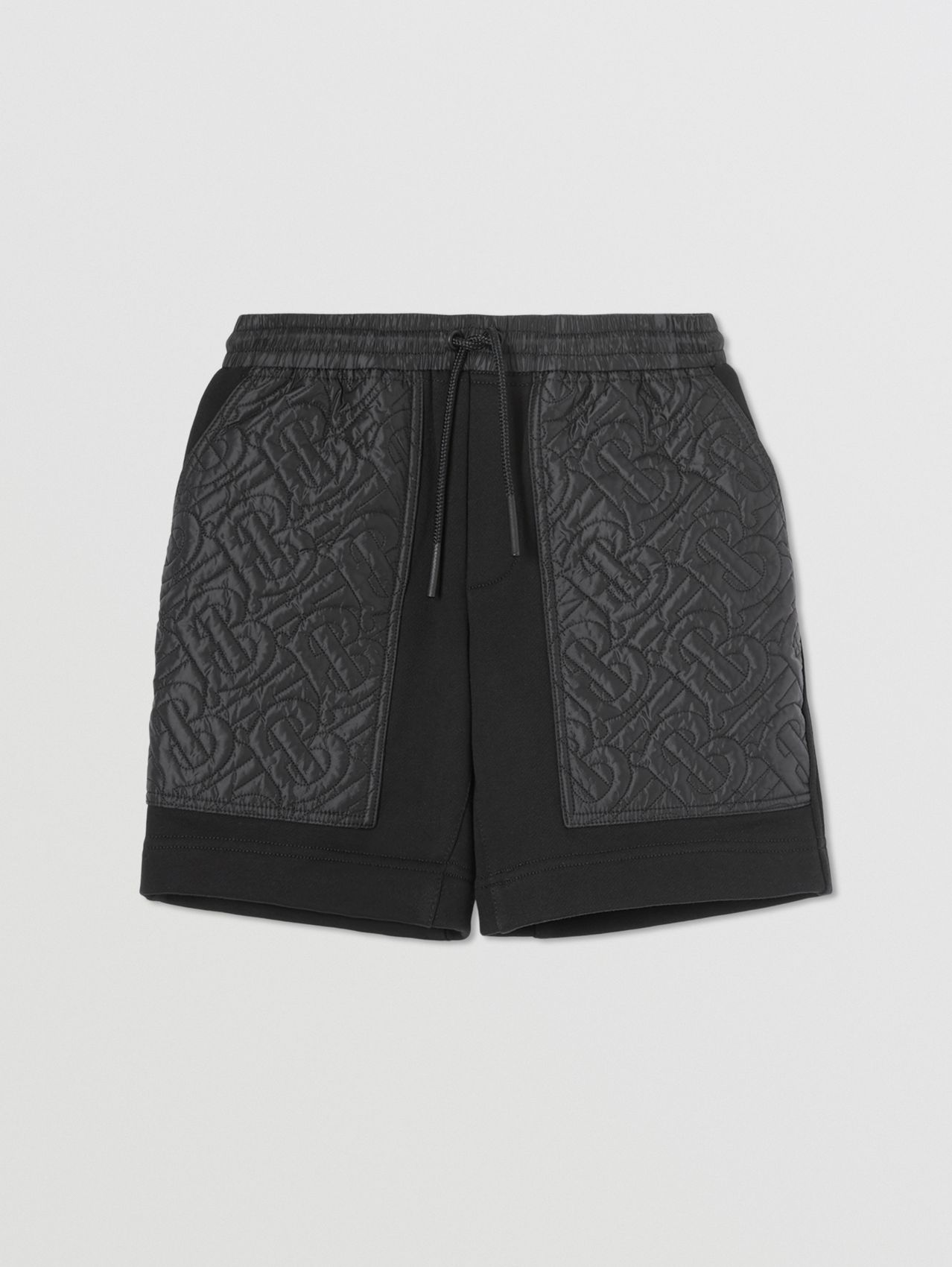 Monogram Quilted Panel Cotton Shorts in Black