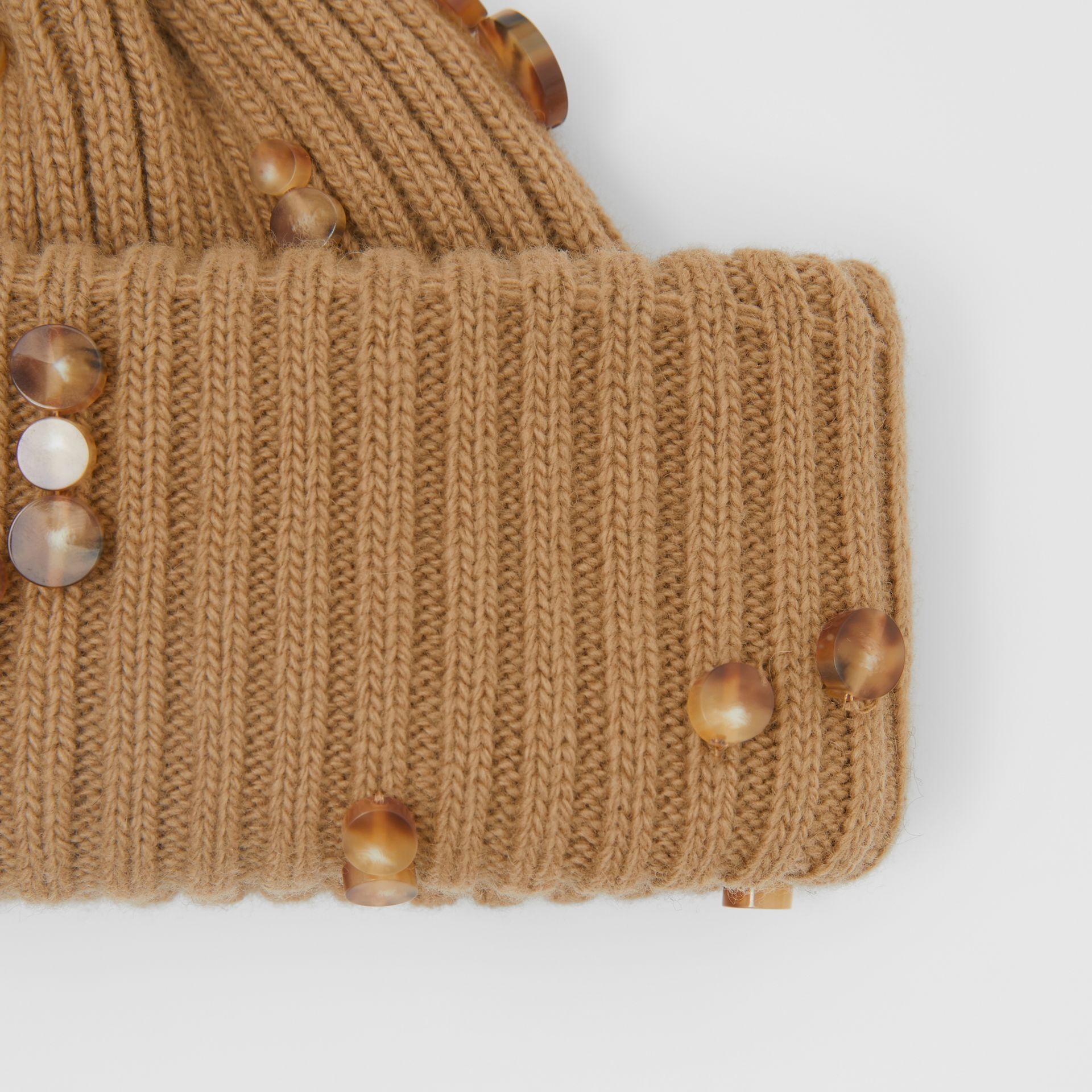 Embellished Rib Knit Wool Beanie in Warm Camel | Burberry - gallery image 1