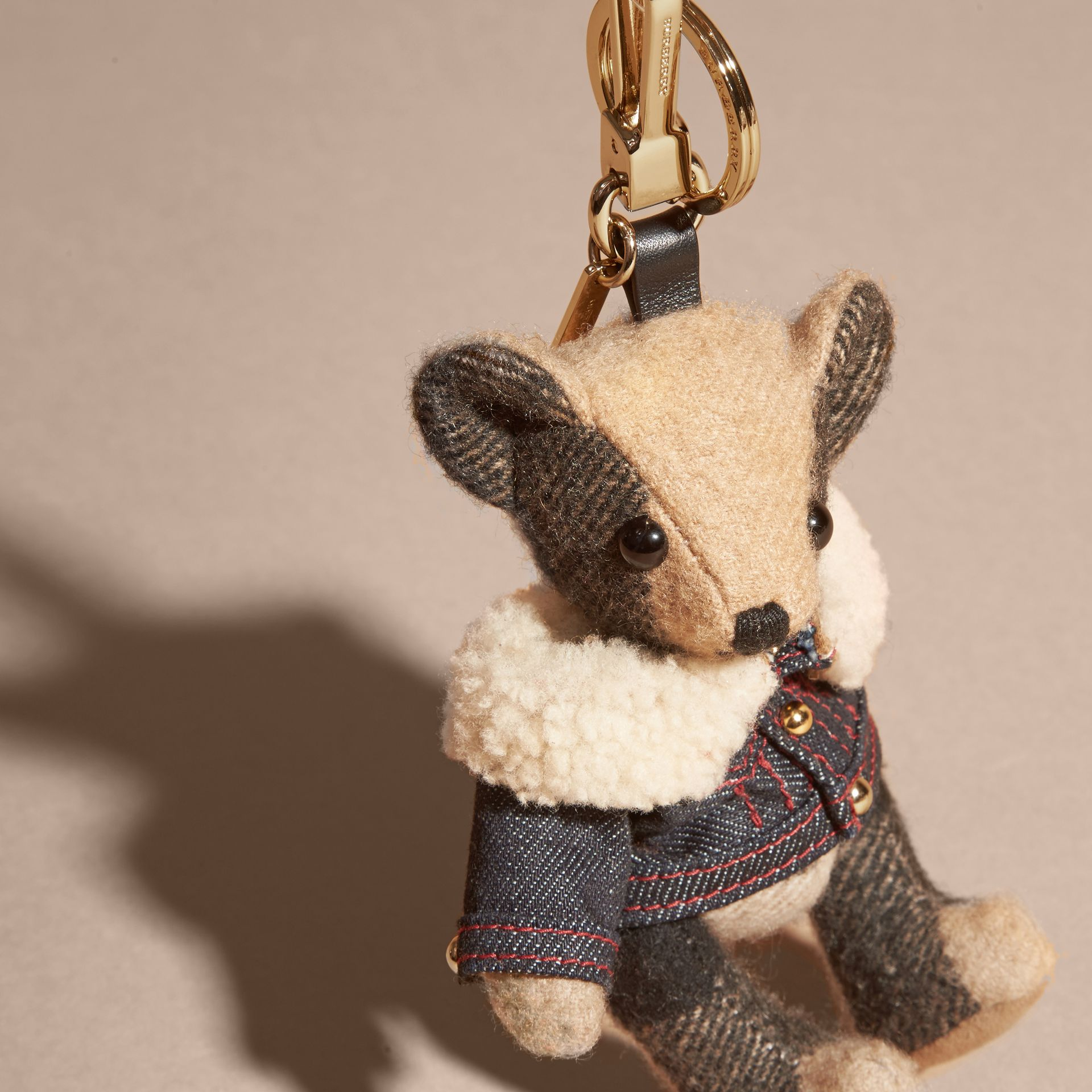 Thomas Bear Charm in Denim Jacket in Camel - Women | Burberry Canada - gallery image 2