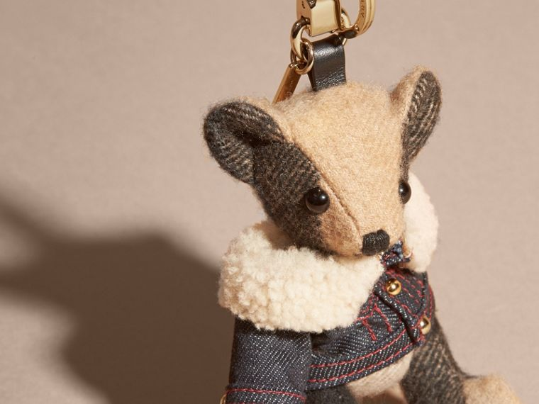 Thomas Bear Charm in Denim Jacket in Camel - Women | Burberry Canada - cell image 1