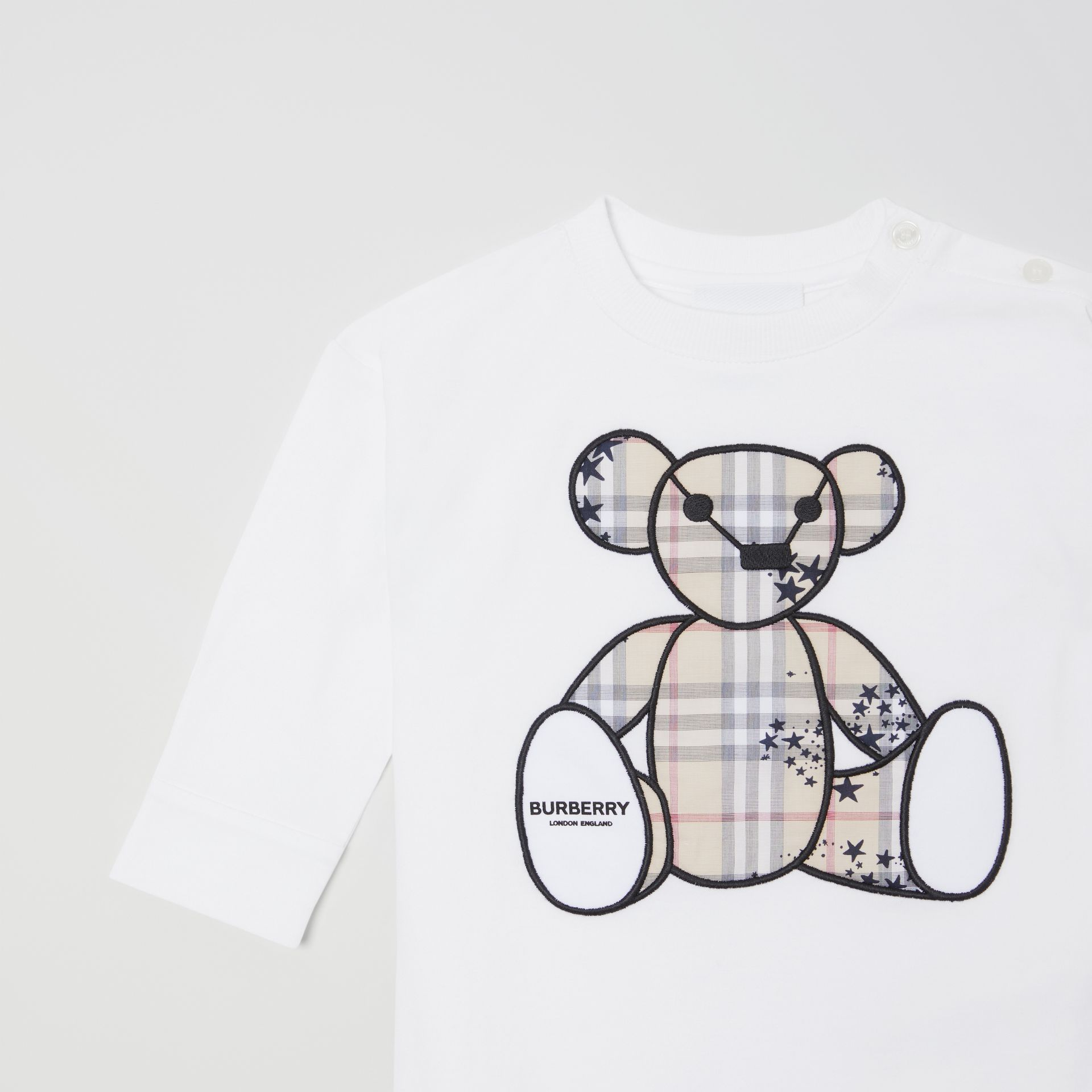 Thomas Bear Appliqué Cotton All-in-One in White - Children | Burberry Hong Kong S.A.R - gallery image 3