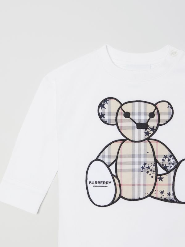 Thomas Bear Appliqué Cotton All-in-One in White - Children | Burberry Hong Kong S.A.R - cell image 3