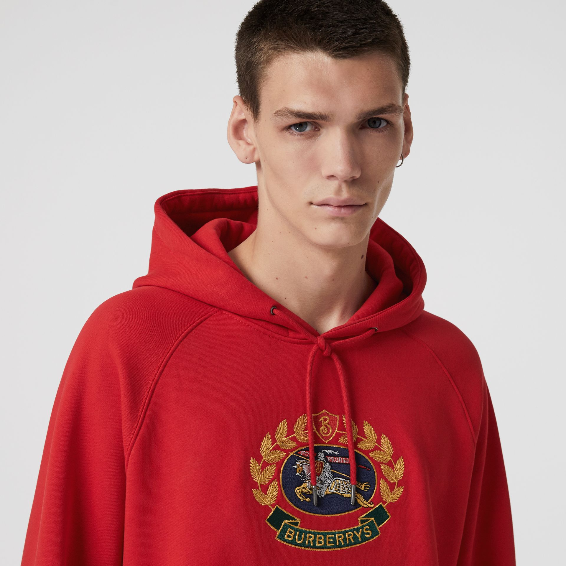 Embroidered Archive Logo Jersey Hoodie in Bright Red - Men | Burberry - gallery image 0