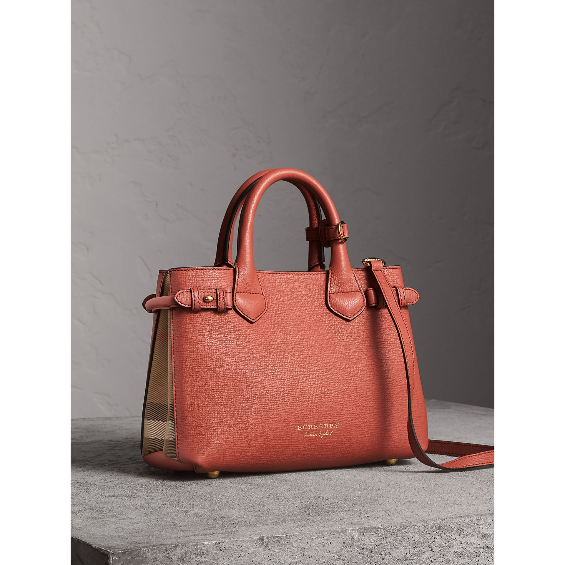 The Small Banner in Leather and House Check in Cinnamon Red - Women | Burberry - gallery image 0