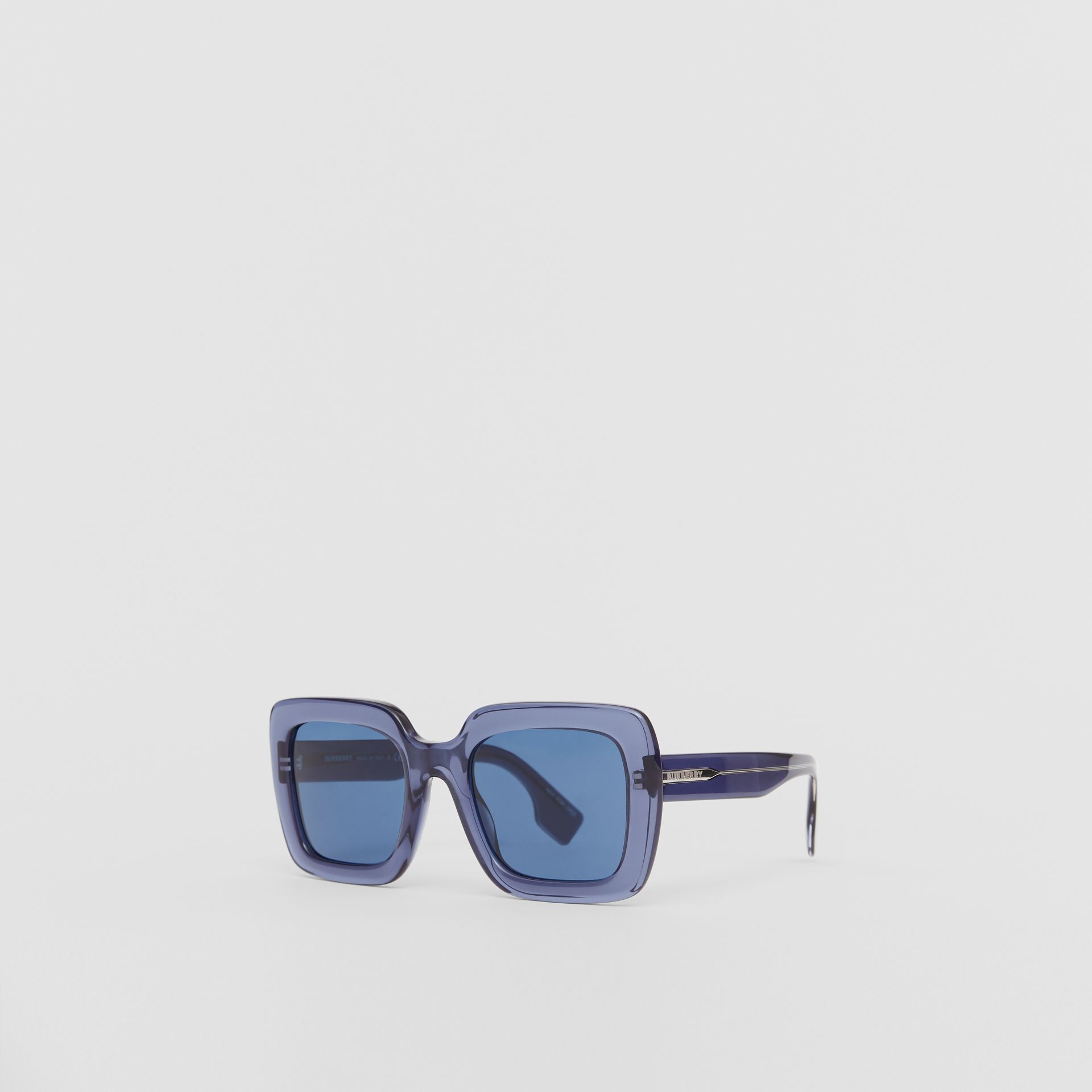Oversized Square Frame Sunglasses in Blue - Women | Burberry - gallery image 4