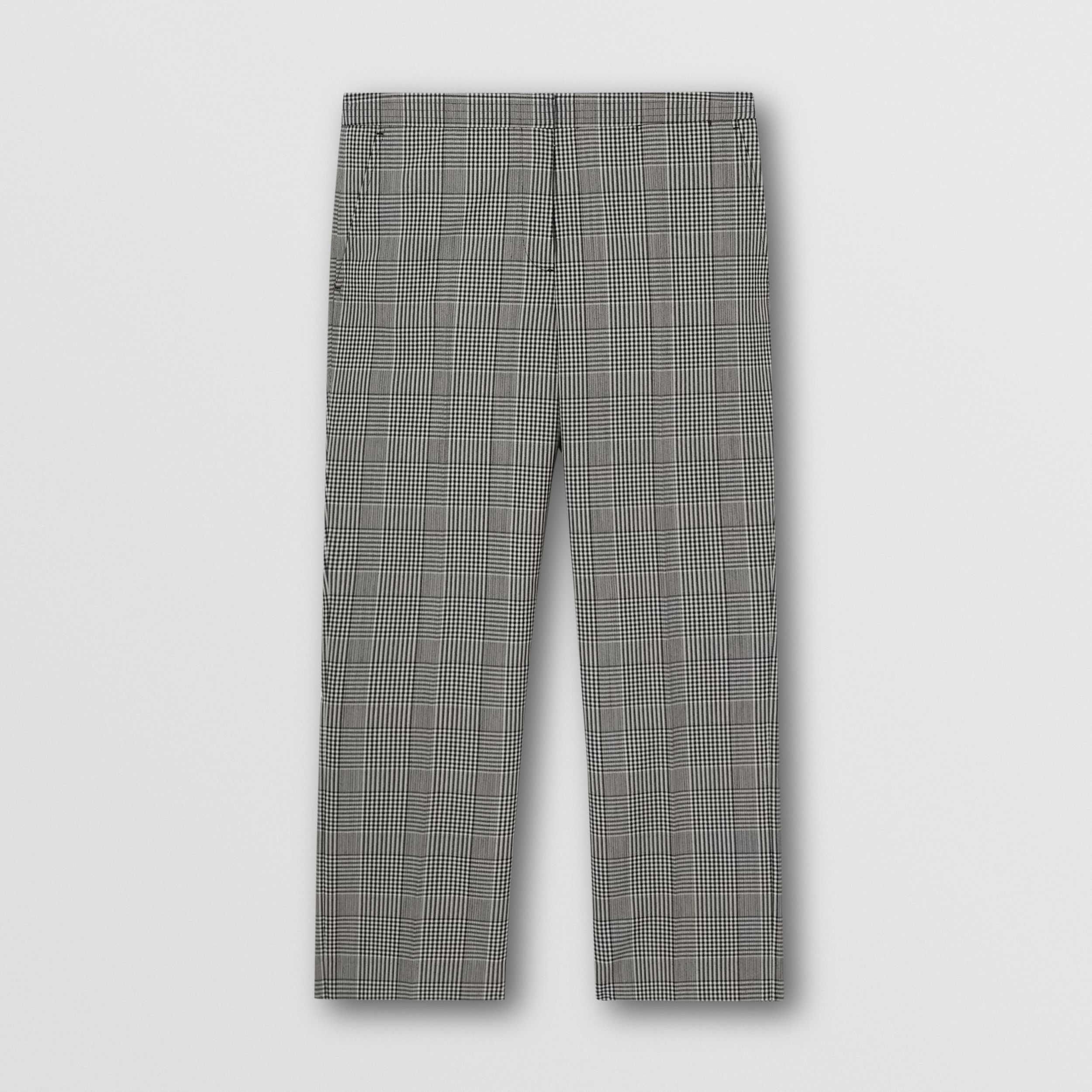 Cropped Check Technical Wool Tailored Trousers in Black | Burberry - 4