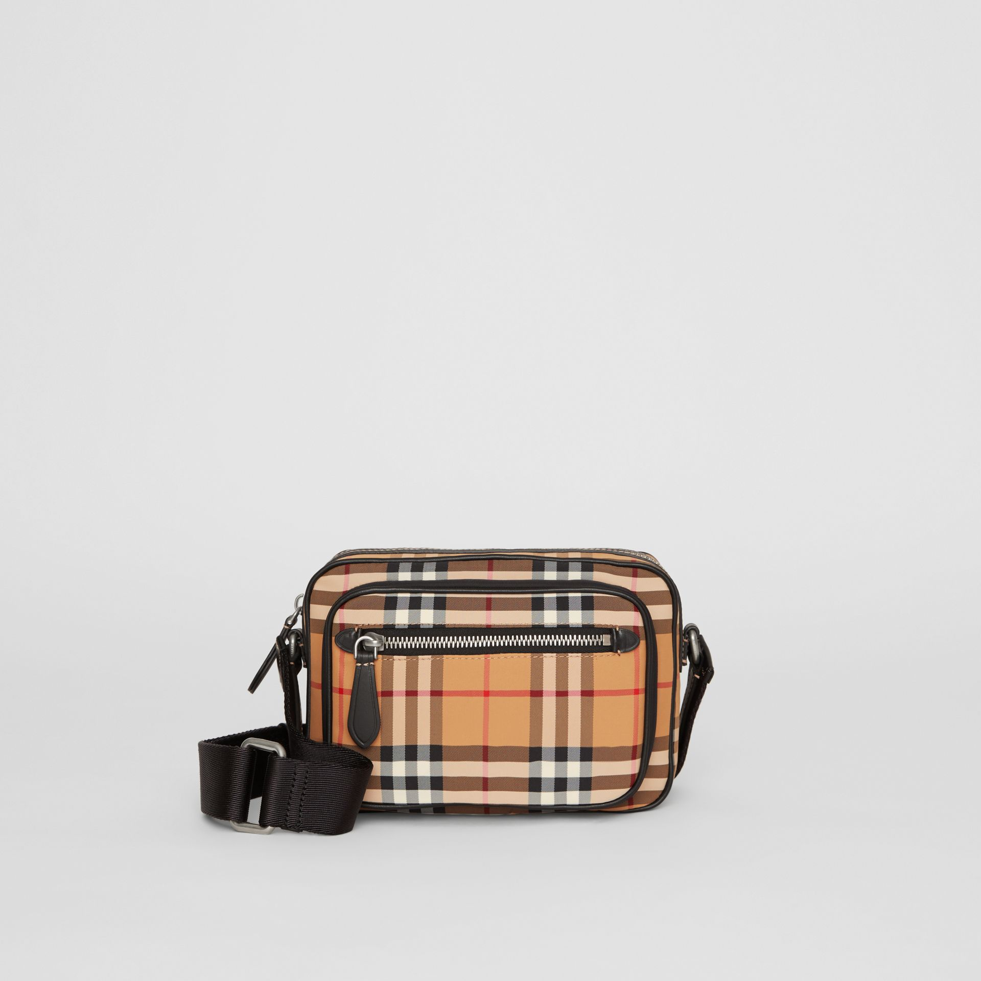 Vintage Check and Leather Crossbody Bag in Antique Yellow - Men | Burberry Singapore - gallery image 0