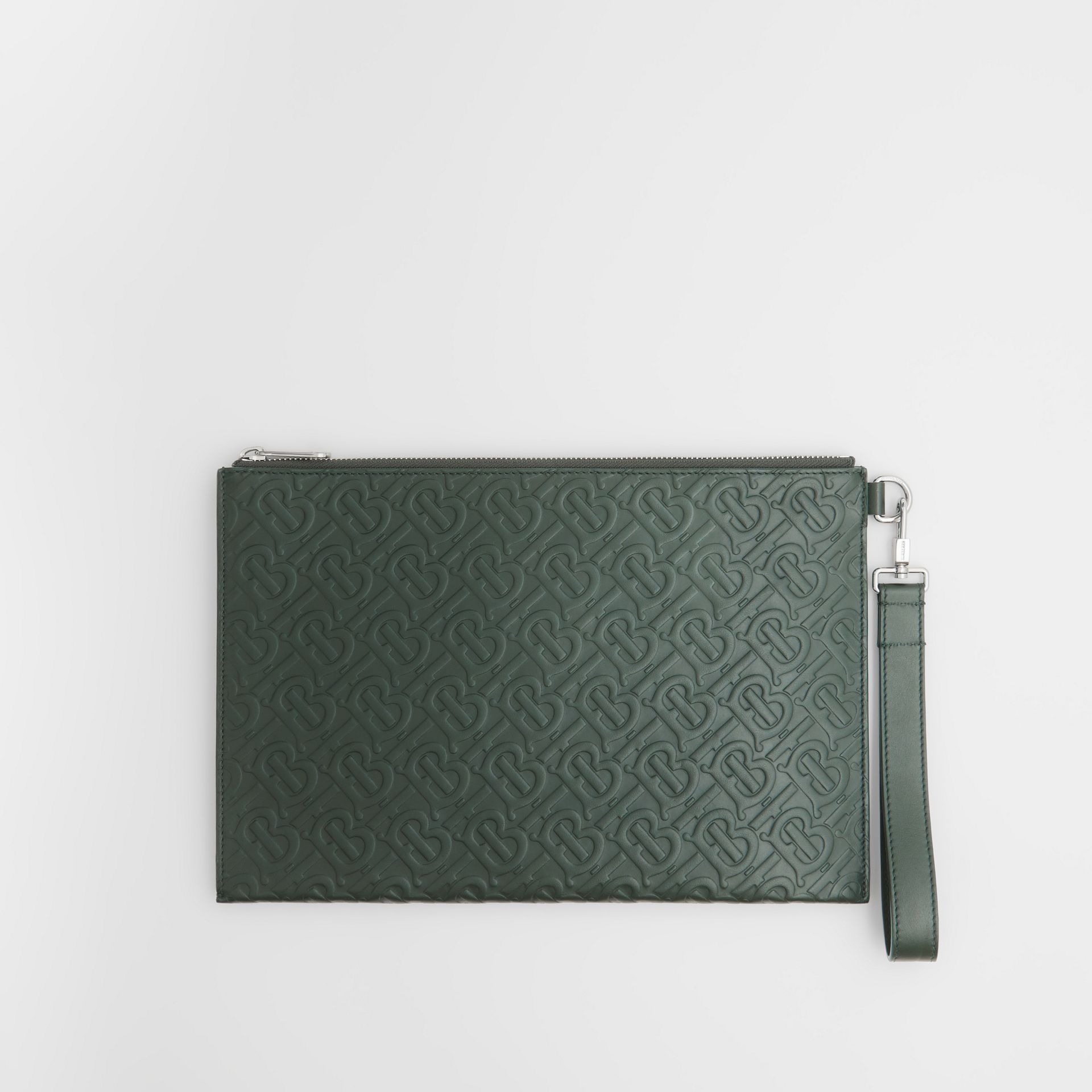 Monogram Leather Zip Pouch in Dark Pine Green - Men | Burberry Hong Kong S.A.R - gallery image 0