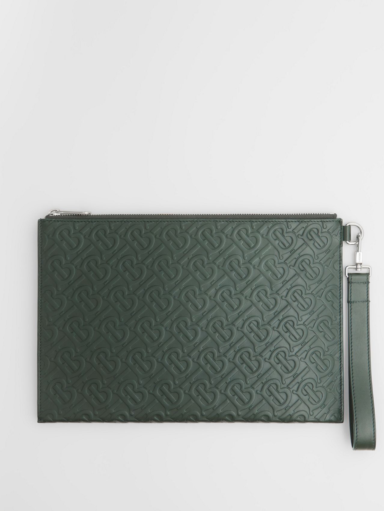 Monogram Leather Zip Pouch in Dark Pine Green