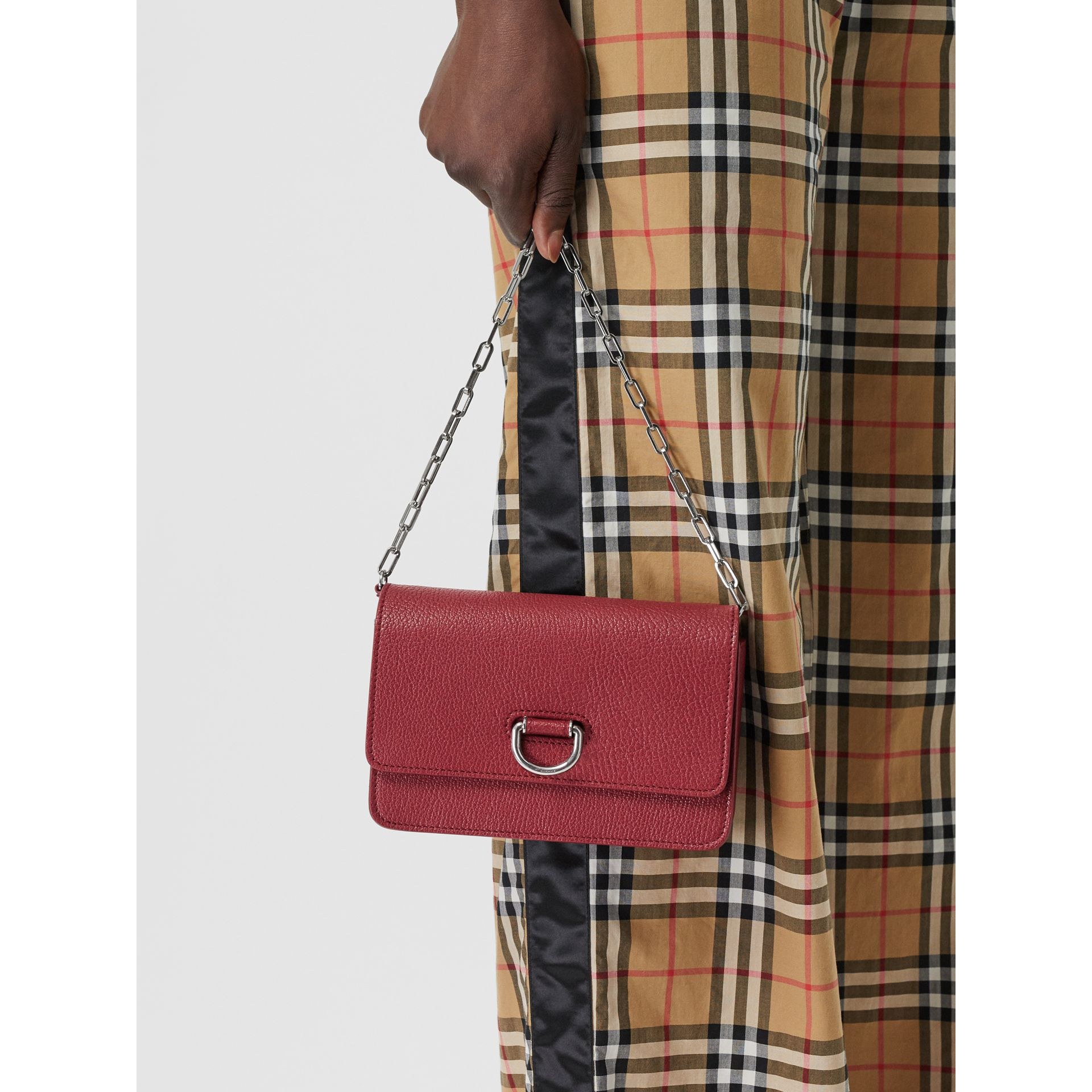 The Mini Leather D-ring Bag in Crimson - Women | Burberry Australia - gallery image 3