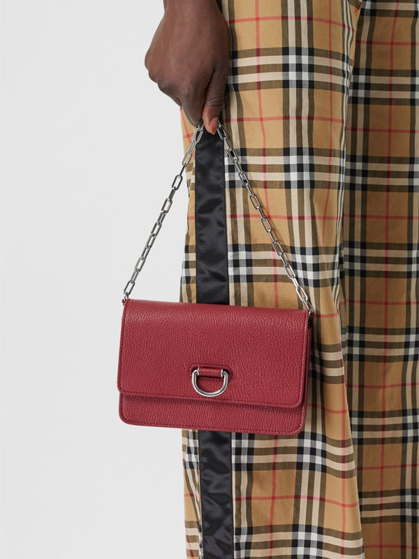 The Mini Leather D-ring Bag in Crimson - Women | Burberry - cell image 3
