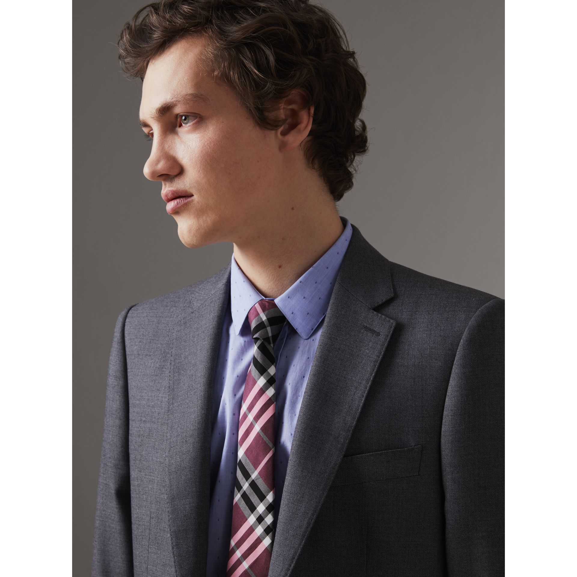Modern Cut Check Silk Tie in Rose Pink - Men | Burberry - gallery image 2
