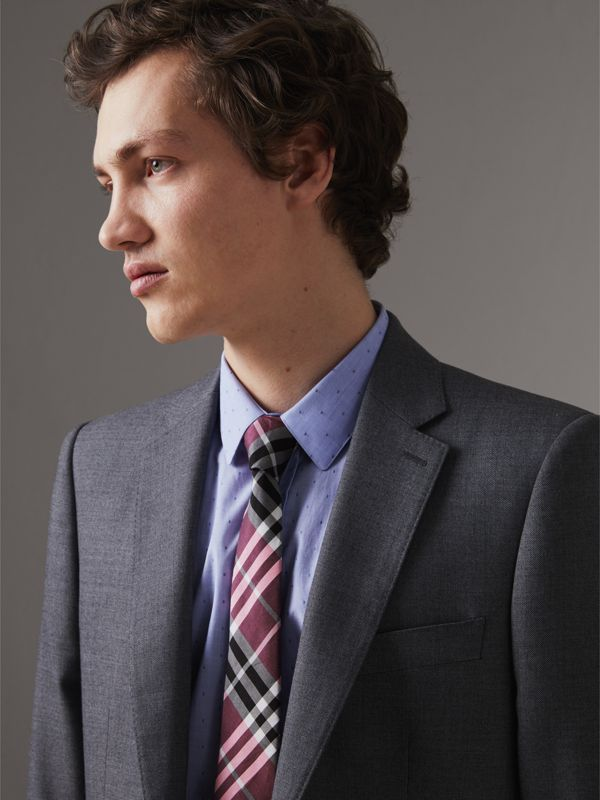 Modern Cut Check Silk Tie in Rose Pink - Men | Burberry - cell image 2