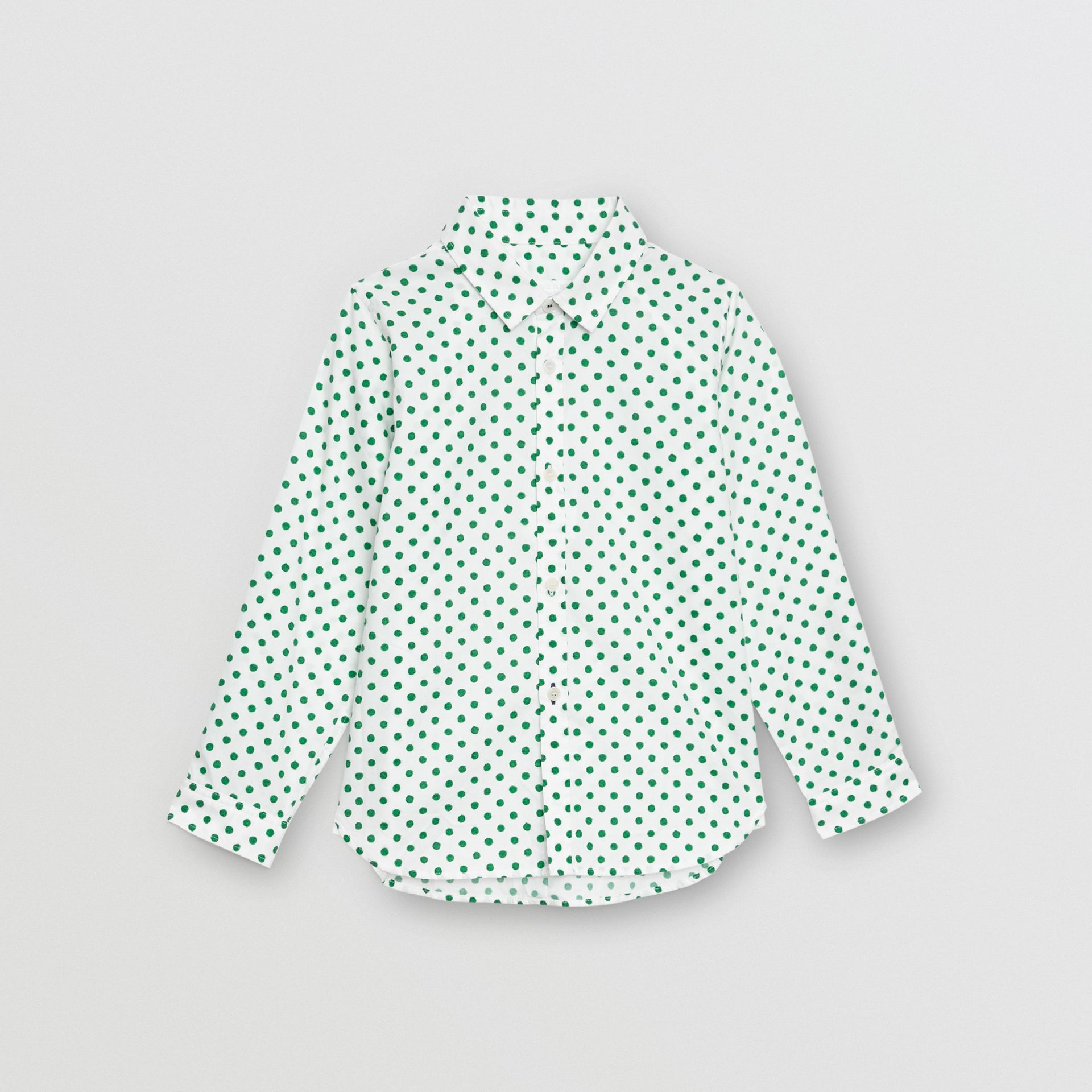 Polka Dot Cotton Oxford Shirt in Emerald Green - Children | Burberry - gallery image 0
