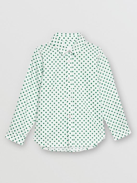Camicia Oxford in cotone con motivo a pois (Verde Smeraldo)