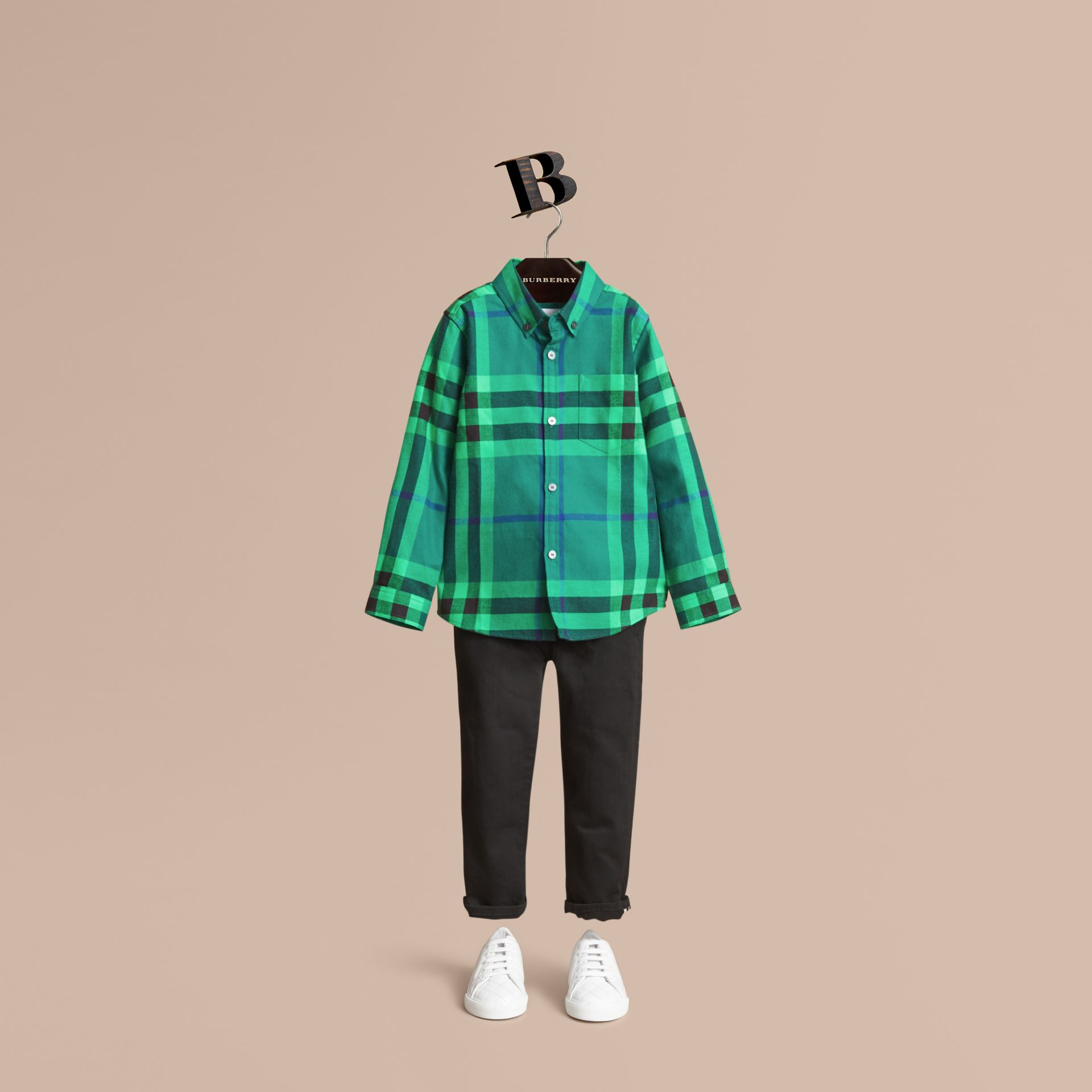 Check Cotton Flannel Button-Down Shirt in Pigment Green - Boy | Burberry - gallery image 0