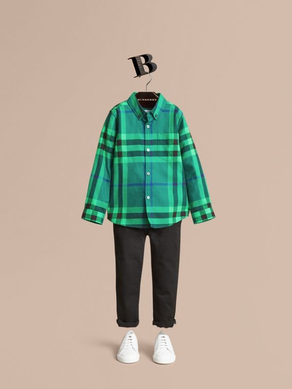 Check Cotton Flannel Button-Down Shirt in Pigment Green - Boy | Burberry