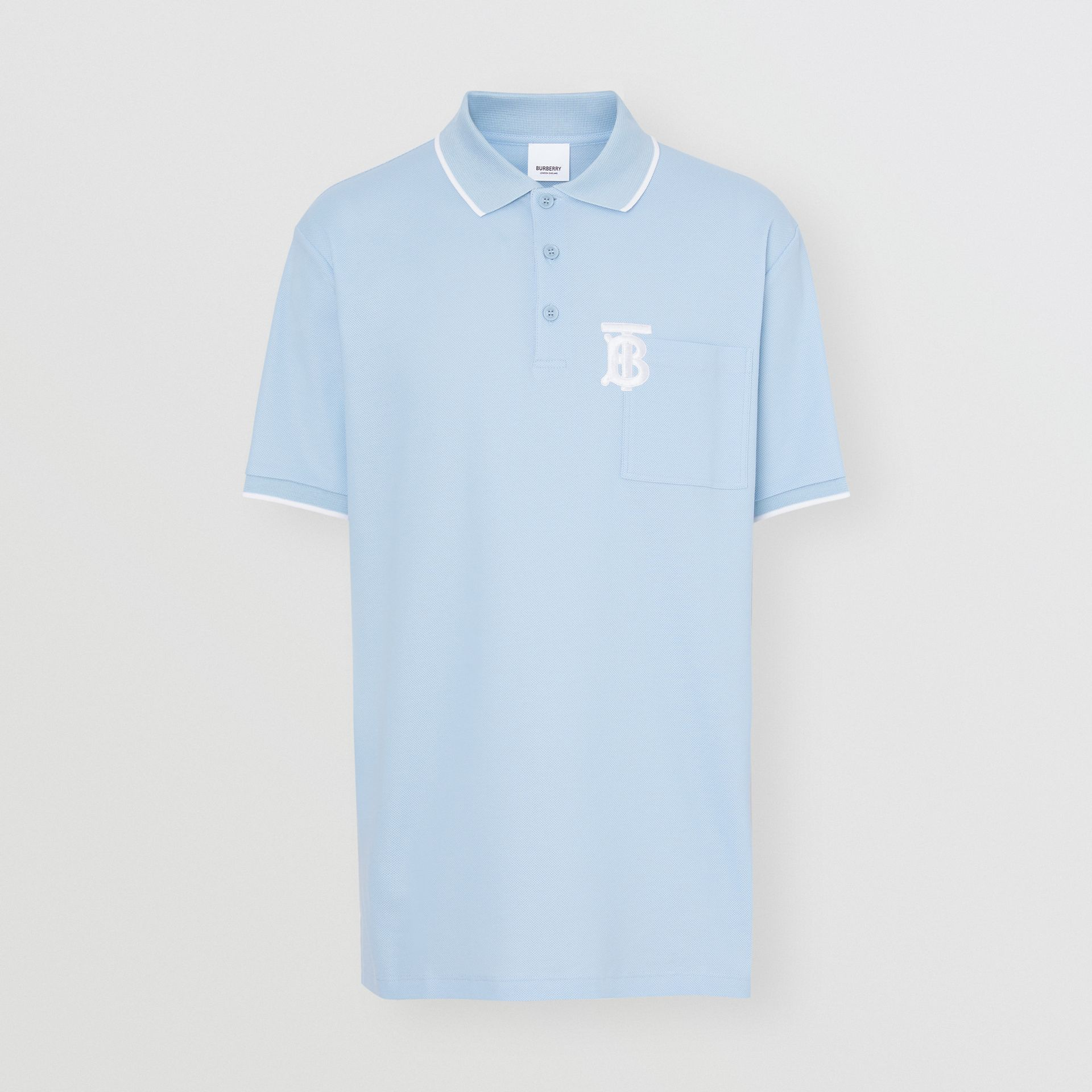 Monogram Motif Tipped Cotton Piqué Polo Shirt in Pale Blue - Men | Burberry - gallery image 3