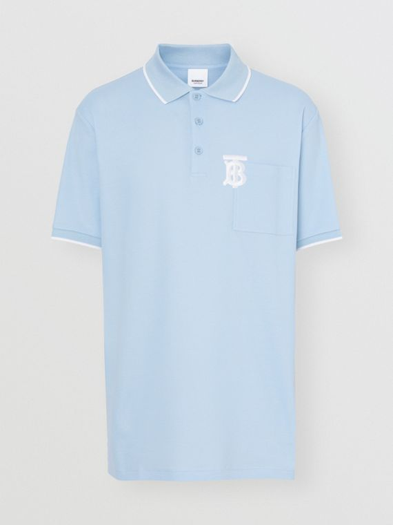 Monogram Motif Tipped Cotton Piqué Polo Shirt in Pale Blue