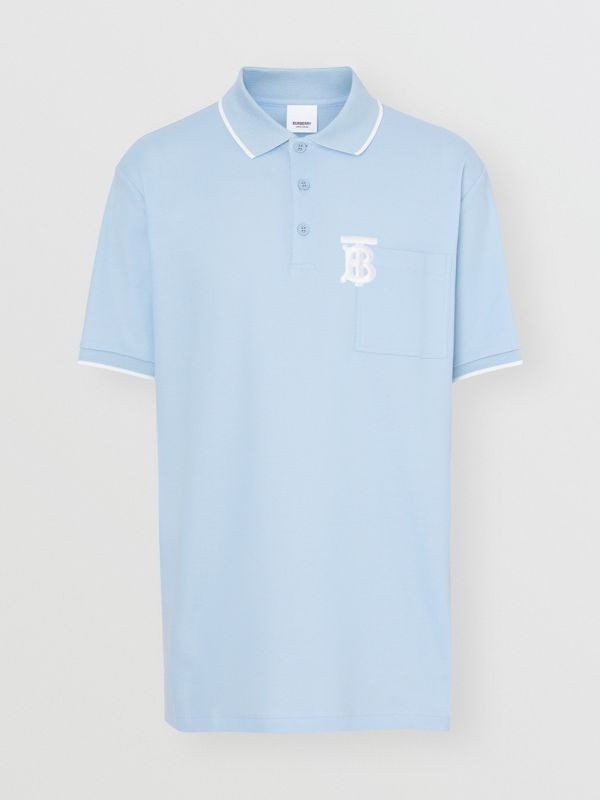 Monogram Motif Tipped Cotton Piqué Polo Shirt in Pale Blue - Men | Burberry - cell image 3