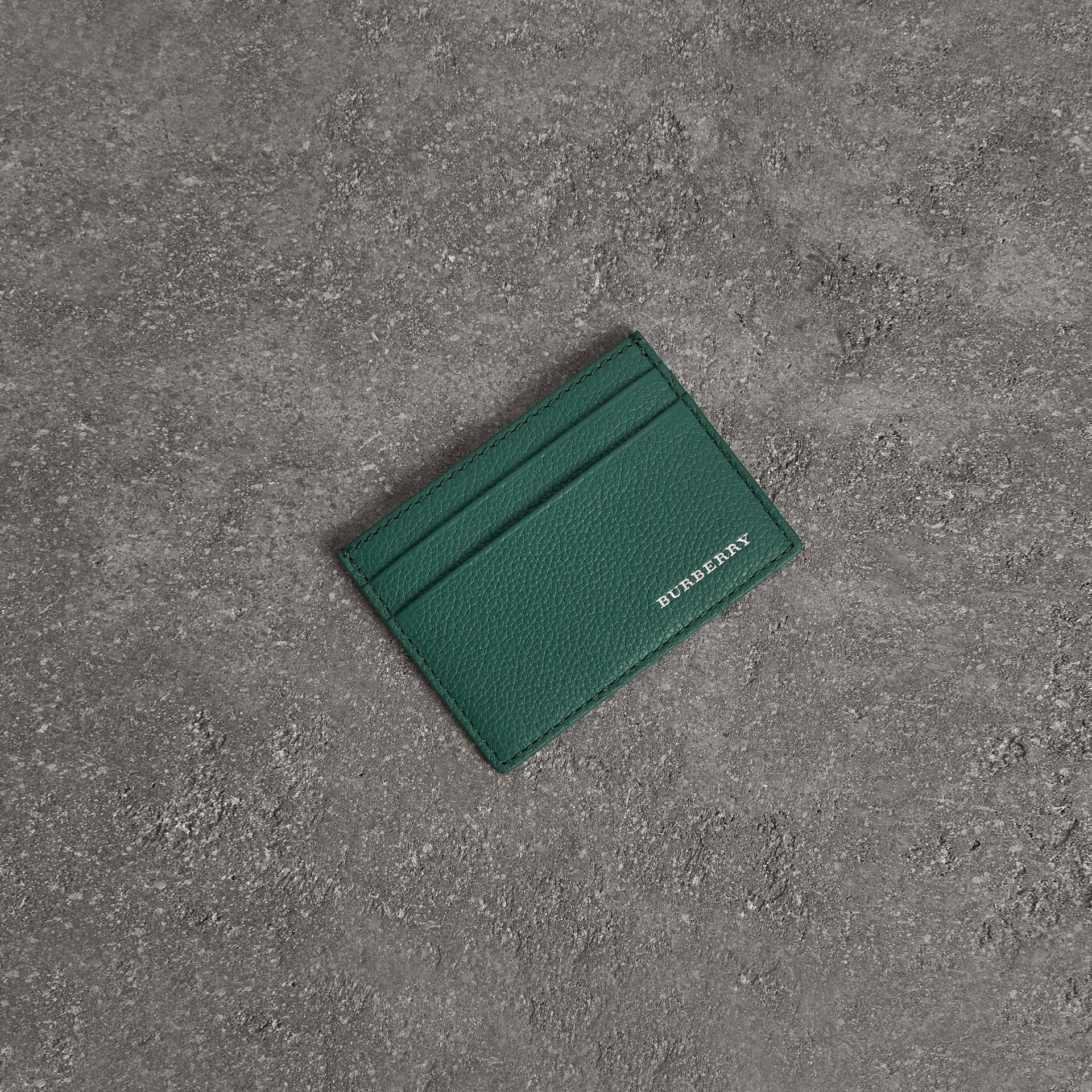 Grainy Leather Card Case in Dark Cyan | Burberry - gallery image 0