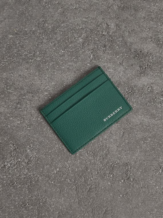 Grainy Leather Card Case in Dark Cyan