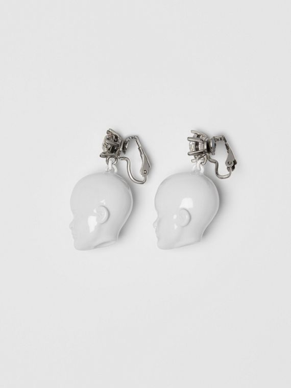 Crystal and Doll's Head Palladium-plated Earrings in White/palladium