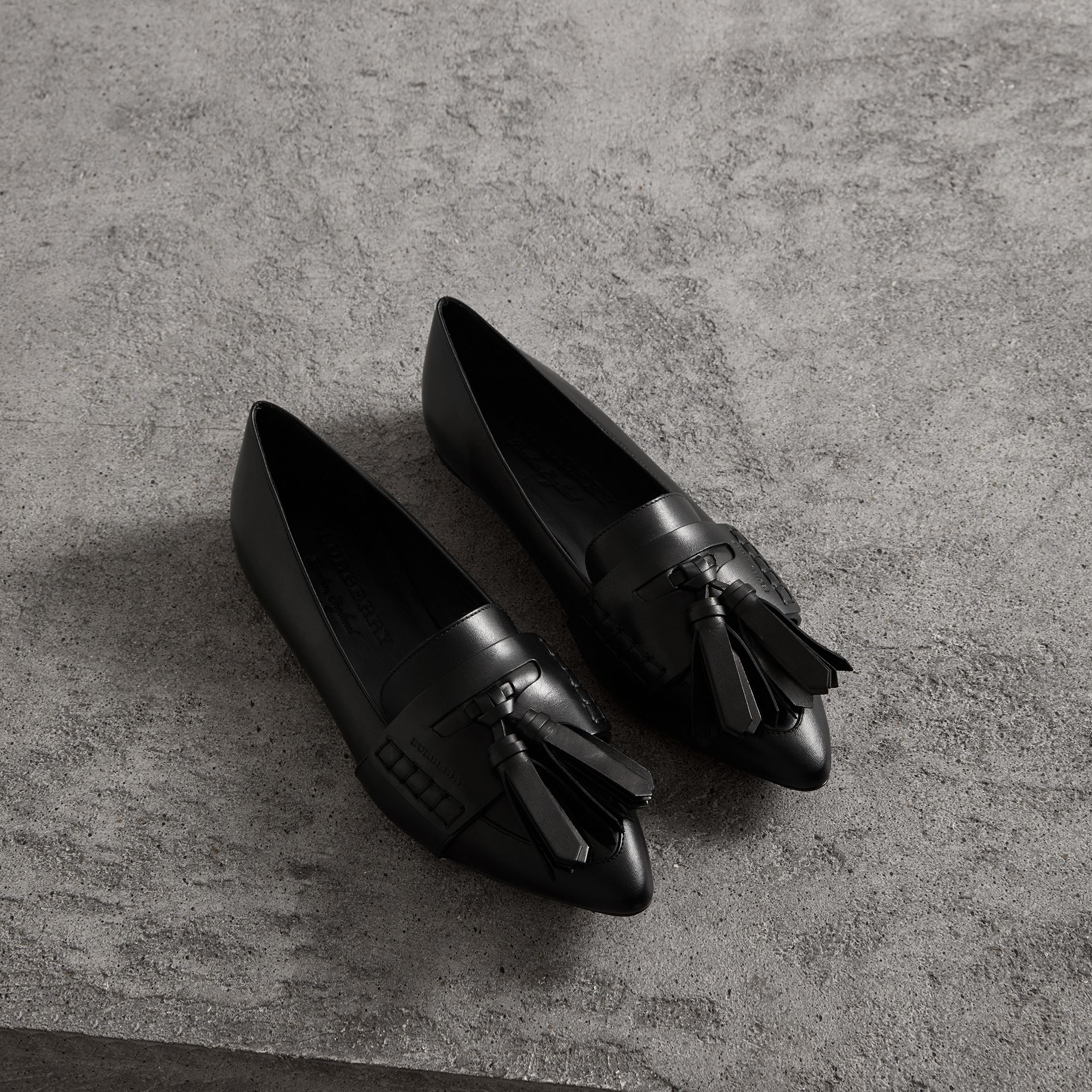 Tasselled Leather Loafers in Black - Women | Burberry - gallery image 0
