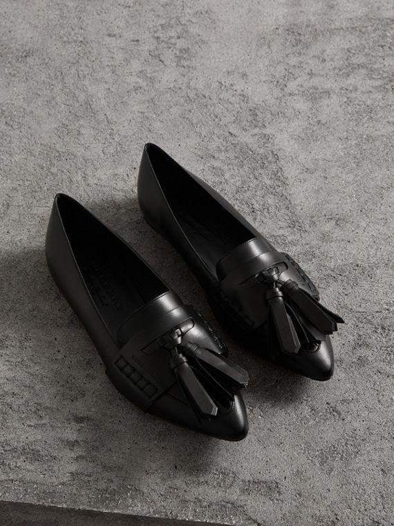Tasselled Leather Loafers in Black