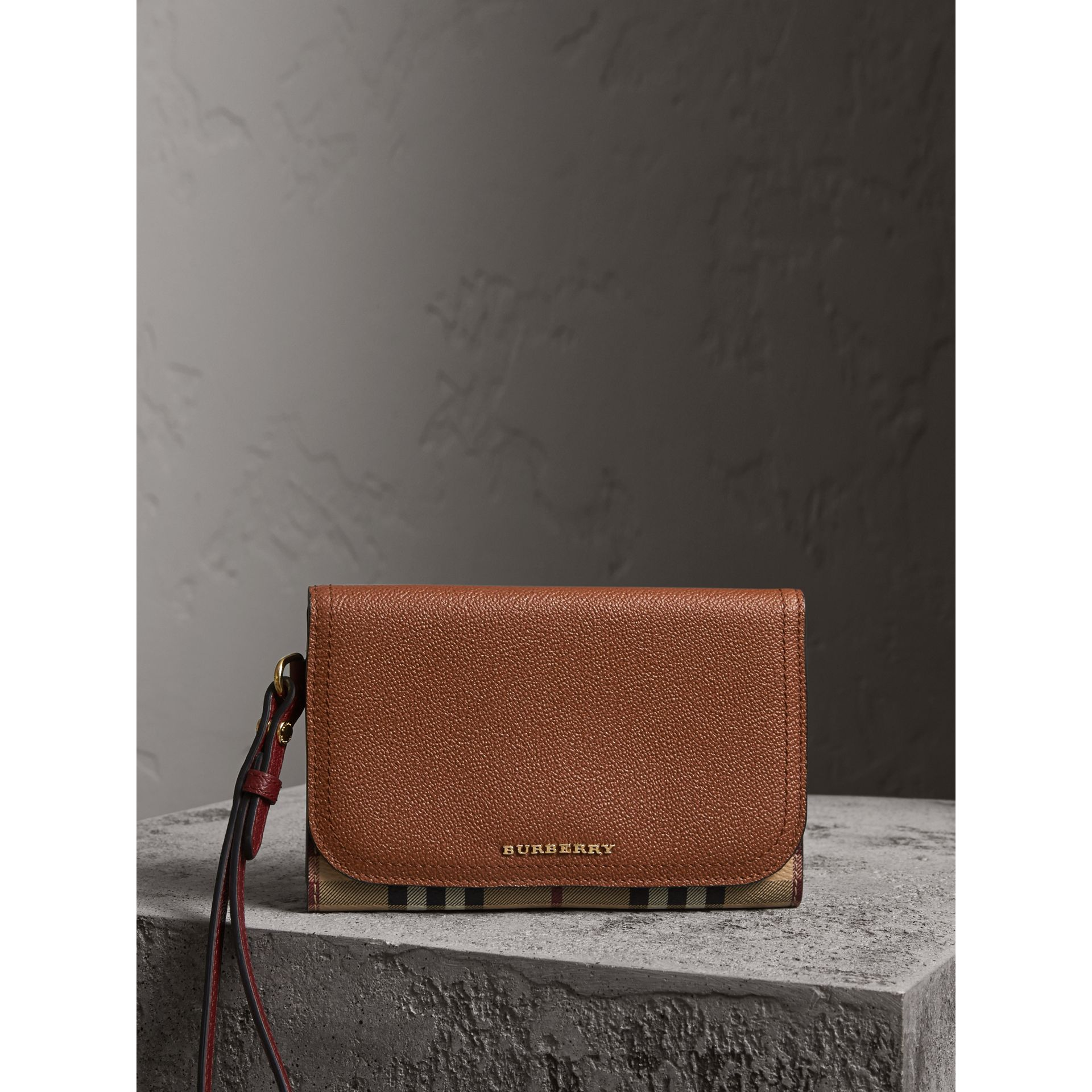Leather and Haymarket Check Wristlet Wallet in Bright Toffee/multicolour - Women | Burberry - gallery image 6