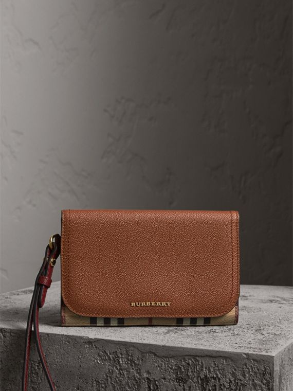 Leather and Haymarket Check Wristlet Wallet in Bright Toffee/multicolour