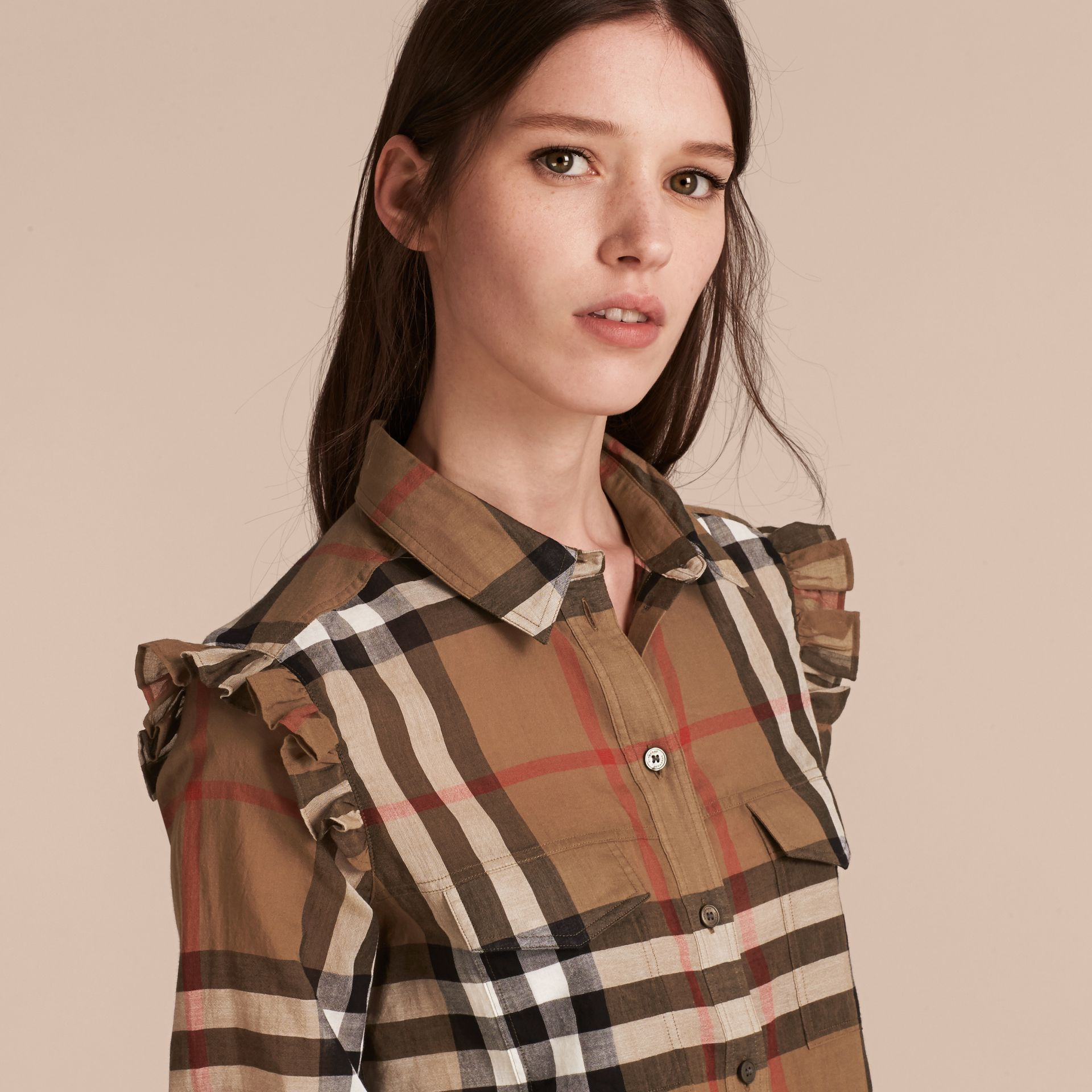 Frill Detail Check Cotton Shirt in Taupe Brown - Women | Burberry - gallery image 5