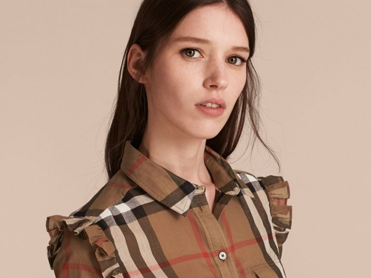 Frill Detail Check Cotton Shirt in Taupe Brown - cell image 4